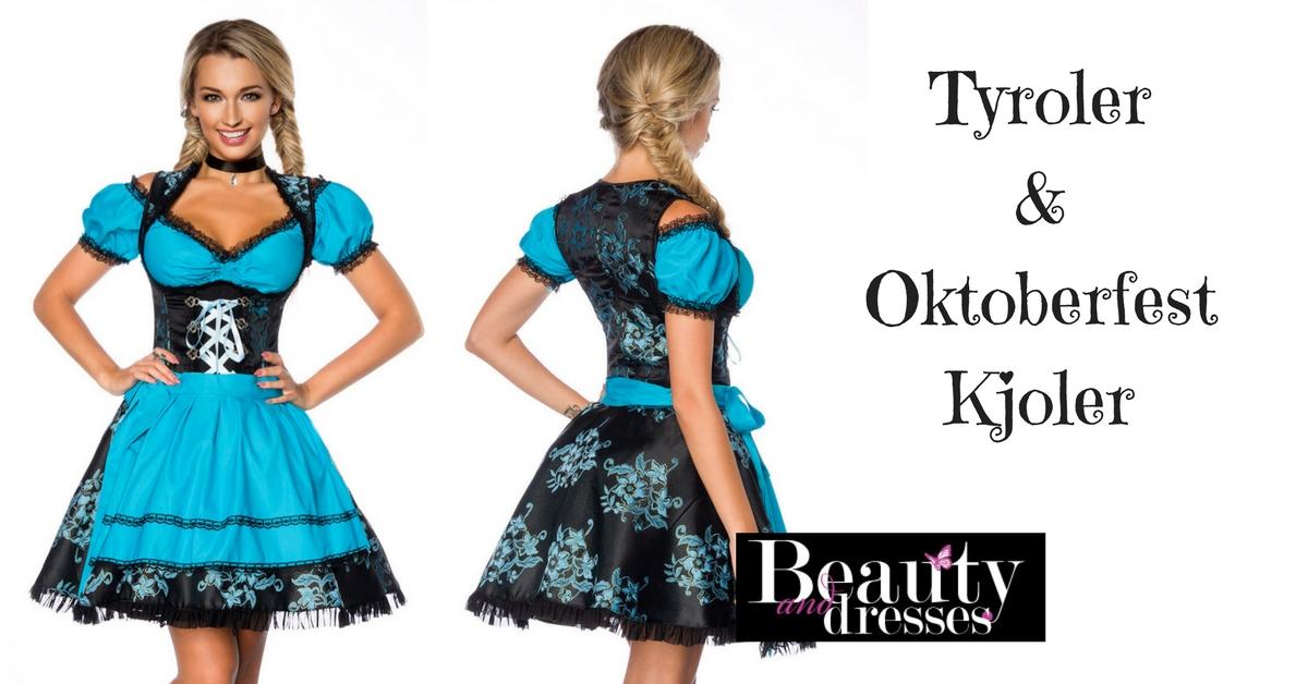 Blå og sort Tyrolerkjole i fantastisk design | Tyroler kjoler