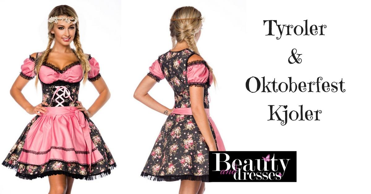 Tyroler kjole i lyserød og sort med smukke blomster