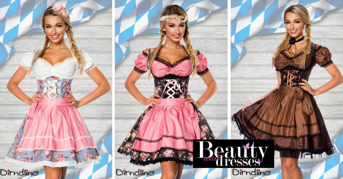 Flotte Tyroler og Oktoberfest kjole med blomster | Feminint design af Tyrolerkjoler
