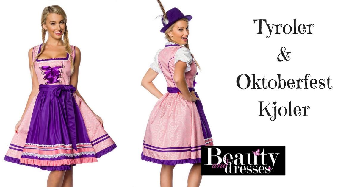 Tyroler kjole i flotte lyserød og lilla nuancer