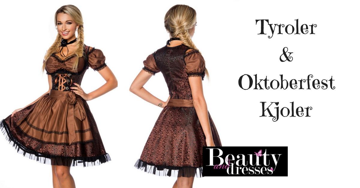 Oktoberfest og tyroler kjole i brun og sort | Flotte oktoberfest kjoler