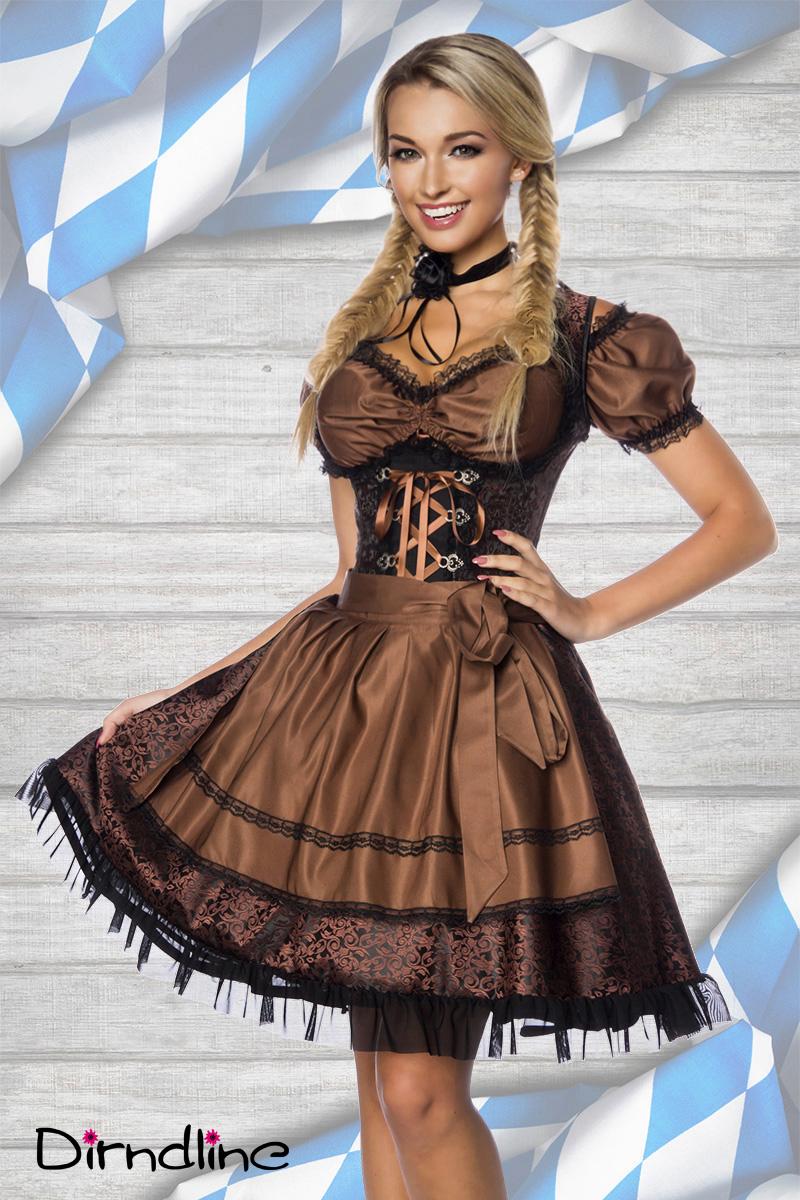 Tyroler kjole i brun og sort | Meget feminin | Fri fragt