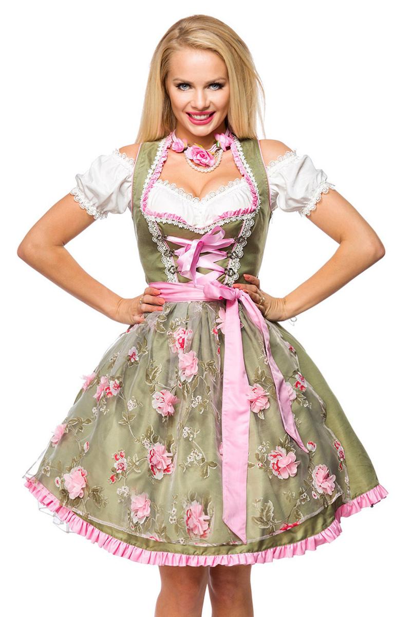 Oktoberfest kjole med chiffon forklæde i søde blomster