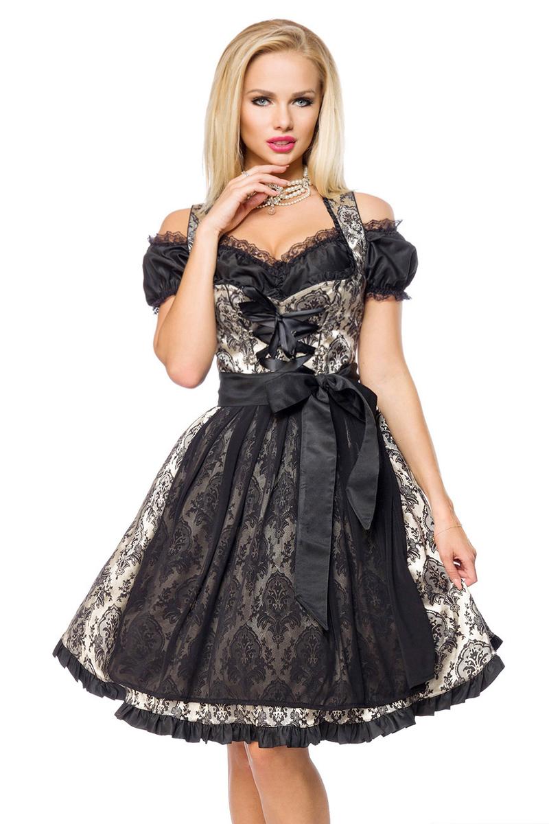Sød Tyroler kjole i guld og sort | Køb feminine tyroler kjoler HER