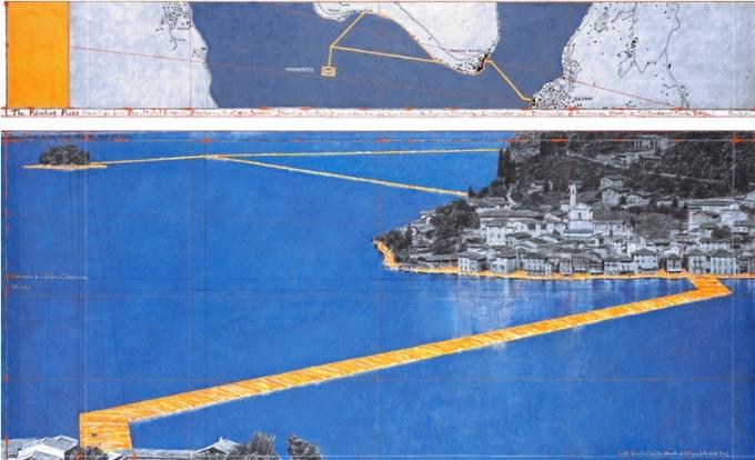 Her ses skitserne til Floating Piers. Foto: André Grossmann © 2014 Christo