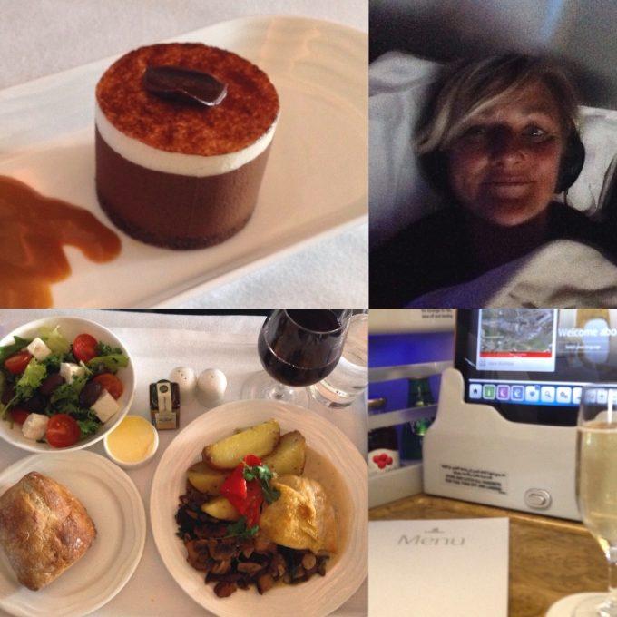 Karen ombord på Emirates business class
