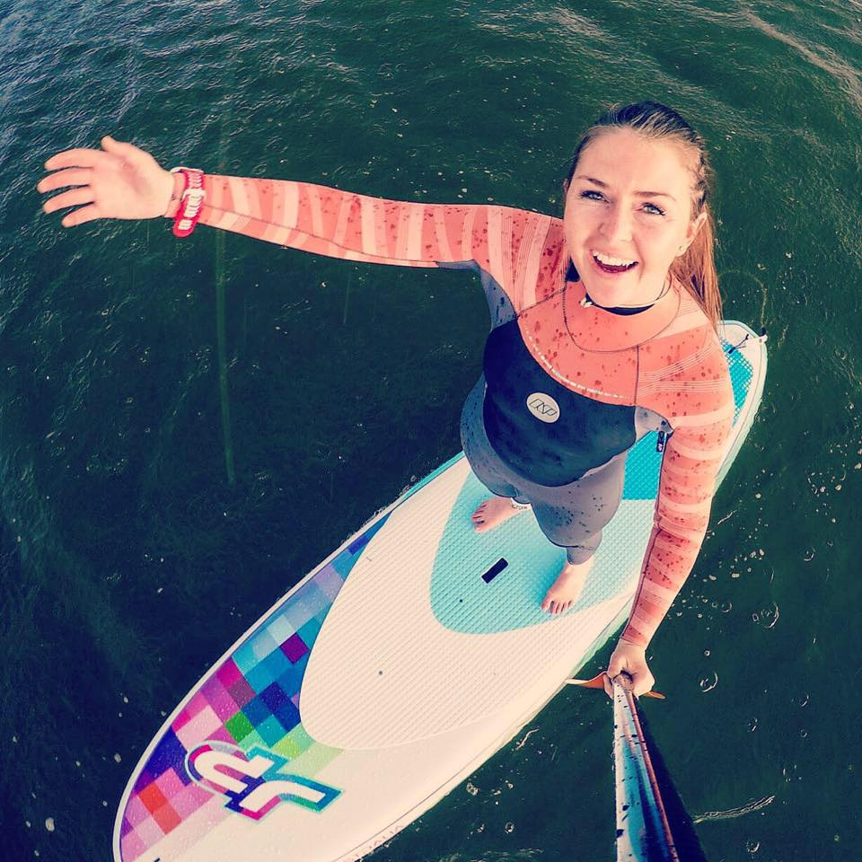 Me on the SUP board ind the rain